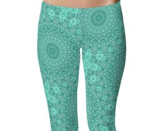 Turquoise Patterned Leggings for Women, Blue Mandala Printed Art Leggings, Womens Yoga Pants