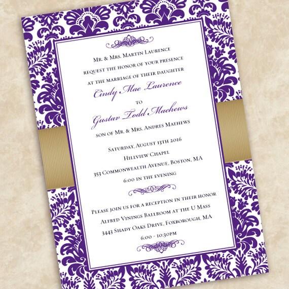 wedding invitations, eggplant wedding invitations, gold wedding invitations, eggplant wedding invitations, golden anniversary, IN501