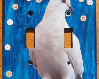 Rock Dove - Recycled Double Light Switch Plate Cover, Bird, Pigeon, White, Blue, City, Hawaii, Park, Flowers, Collage, OOAK,
