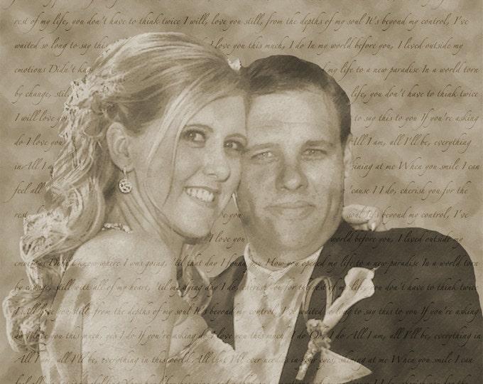 Custom Pencil Drawing Sketch Photo Gift Song Lyrics on Canvas Wedding Anniversary Engagement Decor 20x20