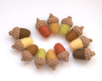 12 felted Acorns Autumn decor  Woodland Thanksgiving Weddings favor golden brown olive yellow orange handmade rustic fall garland Christmas