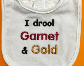 READY TO SHIP in 1 Business day - I Drool Garnet and Gold Bib  Florida State Seminoles