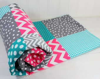 Baby Quilt, Baby Blanket, Nursery Decor, Minky Baby Blanket, Patchwork Quilt, Teal, Magenta, Pink, Gray, Grey, White, Baby Girl