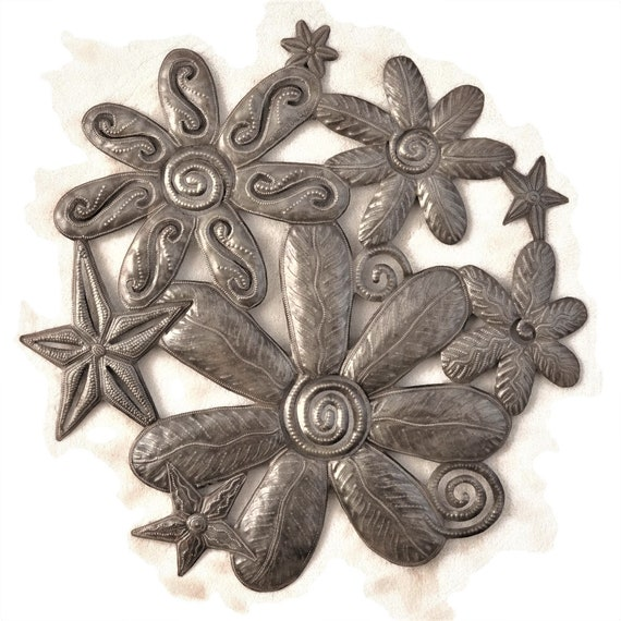 Flowers, Steel Drum Sculpture, Handmade In Haiti From Recycled Oil Drums, One-of-a-Kind, 23x23