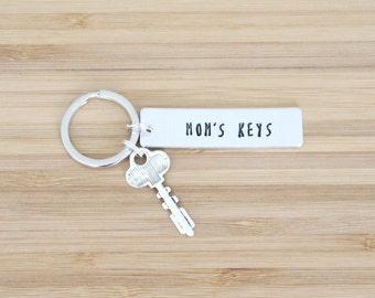 hand stamped keychain   mom's keys