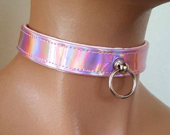 Simple Customizable Holographic Vinyl Collar - Choose your Colors! Vinyl Faux Leather Holographic Rainbow Gothic Cyber Punk Choker