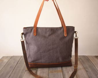 Leather tote bags, canvas bag, waxed canvas handbags, crossbody canvas bags, Purple-Gray canvas and genuine leather made