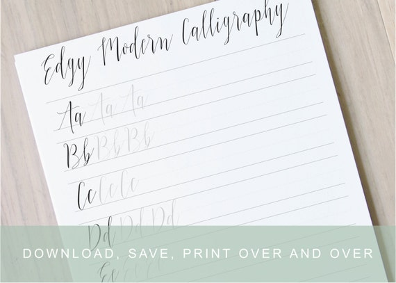Edgy modern calligraphy lettering worksheets calligraphy