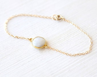 Tiny Round Moonstone Gemstone Connector Bracelet // 14K Gold filled // simple everyday delicate jewelry