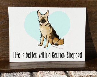 German Shepard Artwork - Dog Art Print - 5x7 Illustration