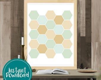 Gold Leaf Honeycomb Hexagon Printable Wall Art