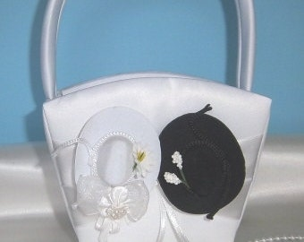 WHITE WESTERN Flower Girl Basket - Wedding -