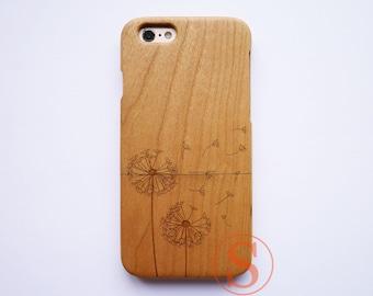 Dandelion iPhone 8 case, Cute iPhone X case, Girly iPhone 7 case, Unique iPhone 6S case, Cool iPhone 7 Plus case, Wood iPhone case, DK-127