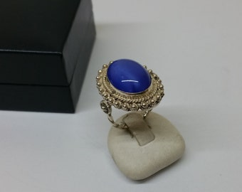 17.4 mm 950 silver ring agate blue nostalgia SR292
