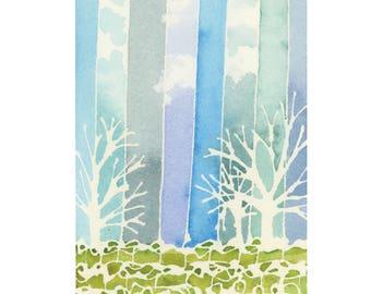 Vineyard Watercolor Landscape Painting - Original