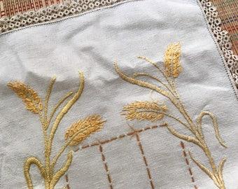 Amber Waves of Grain:  Vintage Embroidered Linen Table Runner