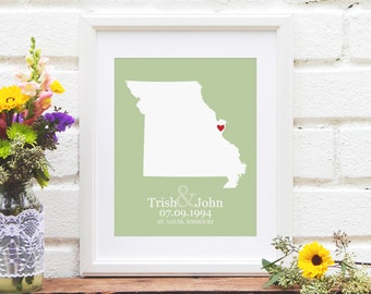Missouri State Map Wedding Gift, State Map , Personalized First Anniversary Gift, US State Map Engagement Gift - Art Print