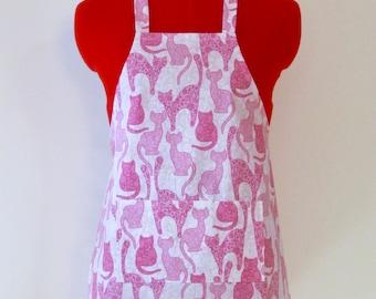 Kids Apron - Pink Paisley Cats Children Apron - Childs Apron - Kitchen Accessory