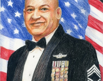 Portrait full color military, Military Retirement, Military Promotion, Armed service remembrance