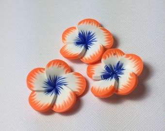 Tropical Polymer Clay Flowers in Blue / Orange ... 3 ct.