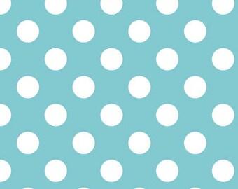 Fat Quarter Riley Blake Aqua Blue Medium Dots Polka Dots