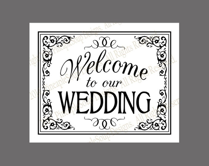 Welcome to our Wedding Printable File - DIY instant download - White and Black Tie Collection - formal wedding