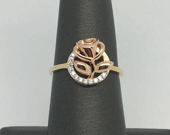 14K Two-Tone Gold Cubic Zirconia Rose Ring