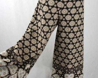 1970s Palazzo Pants Heart Border Wide Leg Pants