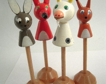 4 Vintage Wooden Toy Animals Fox Rabbit Goat Squirrel Children Primitive Rustic Wood Play Toys on Stands Lacquer Paint