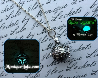 Glowing Orb Necklace Glow Locket ® Steampunk Fairy Jewelry Antiqued Silver