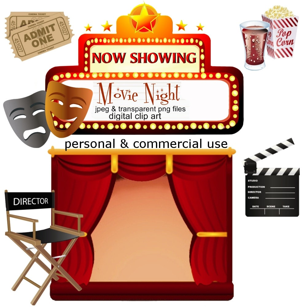 Clip Art Movie Night Png Digital Images No 053