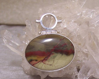 CARRISITE JASPER Oval - Hinged Bead Frame Centerpiece in Stone and  Sterling Silver