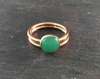 Chrysoprase Stacking Alternative Wedding Engagement Set  - TWO RINGS (Gold Sterling Silver Rose Gold Bridesmaid Bridal Party Gift)