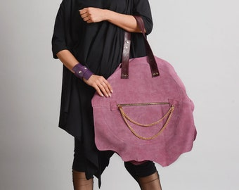 NEW Light Purple Genuine Leather Bag/Suede And Leather Tote/Handmade Extravagant Chain Purse/Oversize Maxi Bag/Purple Zipper Shoulder Bag
