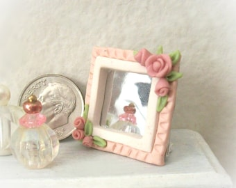Dollhouse Dresser Mirror with Dusty Pink Roses Delicate Free Standing Cottage Chic Sculpted 1 Inch Square Feminine Miniature Decor