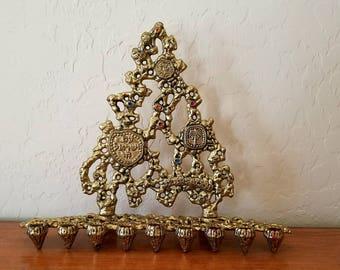 Menorah by TAMAR Vintage Brass Judacia Hannukah Made in Israel