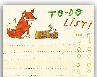Fox / Bird TO DO LIST notepad by boygirlparty, red fox list note pad paper - animal stationery office gift eco friendly, fox to-do list