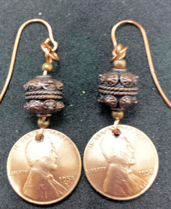 1958 US Penny Earrings - Unique Gift for Birthday Mothers Day Anniversary!