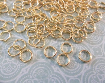 Gold Round 20 gauge Jump Rings 6mm - Qty 142 Pieces