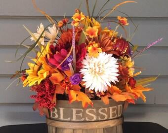 Fall Flower Arrangement, Fall Sunflower Floral Arrangement, Religious Flower Arrangement, Thanksgiving Flowers, Fall Autumn Decor