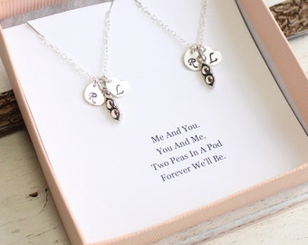 Set of Two Sterling Silver Peas In a Pod Necklaces with Initial Hearts... Best Friends Sentiment Card