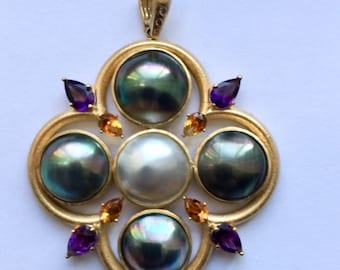 Mabe Pearl Pendant with yellow gold, yellow citrine, purple amethyst and small diamonds