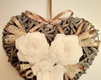 White and Golden beige heart wreath outdoor