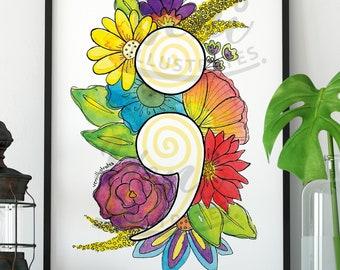 Semicolon Floral Botanical Art Colourful Watercolour Print Mental Health Wellness Awareness