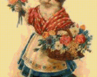 Victorian Cat with Flowers Cross Stitch pattern - Vintage Cats PDF - Instant Download!