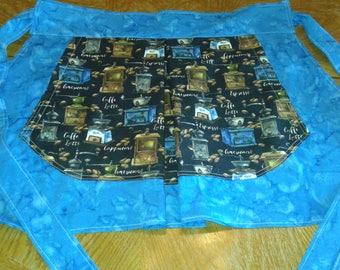 Half Apron, Cotton Half Apron, Large Pocket Half Apron, Fabric Half Apron, Woman's Half Apron, Vintage Style Half Apron