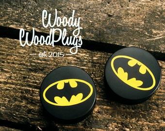Batman plugs - Batman tunnels - ear plugs - ear tunnels - piercing plugs 10 mm - 12mm - 14mm - 16mm - 18mm - 20mm - 22mm - 24mm 3/8 00g 1/2