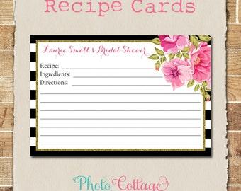 Recipe Cards, Bridal Shower Recipe Card, Glitter Gold Kitchen, Recipes, Recipe Card, RC101
