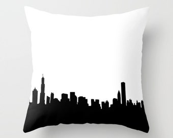 "Chicago City Skyline on Throw Pillow 18"" x 18"" - novelty throw pillows, decorative throw pillows, Chicago on pillows"