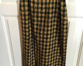 Vintage Cullinane Lady's Black and Yellow Checked Skirt